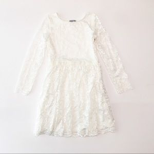 Chasing Fireflies Ivory Floral Lace Sleeved Dress